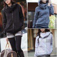 Cotton Hooded Hoody Hoodie Long Sleeve Pocket Coat Jacket Tops S/M/L/XL