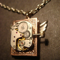 Steampunk Neo Victorian Watch Movement LOCKET Necklace with Wings (593)