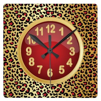 Jaquar Animal Print with Red and Gold