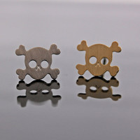 TINY SKULL with crossed bone stud earring, 2colors | girlsluv.it - handmade jewelry collection, ETSY, Artfire, Zibbet, Earrings, Necklace