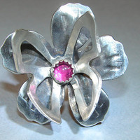 Sterling Silver Butterfly on Flower Ring Handmade with a pink Ruby