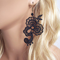 Wisteria lace earrings black  very short version