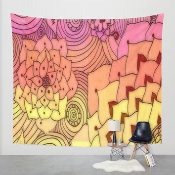 Warm Florals Wall Tapestry by DuckyB (Brandi)