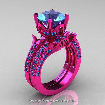 Exclusive French 14K Fuchsia Pink Gold 3.0 Ct Blue Topaz Solitaire Wedding Ring Wedding Band Set R401S-14KFPGBT