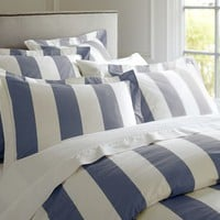 PB Classic Stripe 400-Thread-Count Duvet Cover &amp;amp; Sham - Lapis Blue