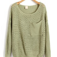 Oversized Green Knitwear with Chunky Knit in Cut Out Detail