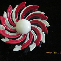Vintage Patriotic Red White Blue Brooch 1960s VL