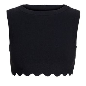 AZZEDINE ALAÏA | Cropped Top with Scalloped Hem | Browns fashion & designer clothes & clothing