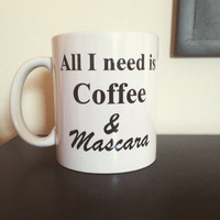 Coffee and mascara coffee mug  funny coffee mug