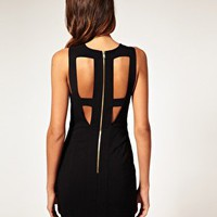 ASOS | ASOS Cut Out Bodycon Dress with Mesh Insert at ASOS