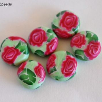 Pink Rose Beads, Polymer Clay, Coin Beads, Jewelry Supplies, Handmade