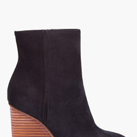 Maison Martin Margiela Black Suede Plexi Wedge Boots for Women | SSENSE