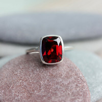 Garnet Solitaire Ring, Sterling and Cushion Cut Garnet Gemstone Made To Order