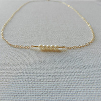 Pearl and gold necklace,14k goldfilled necklace, freshwater pearl necklace, modern pearl necklace, gold pearl necklace, bridesmaids necklace