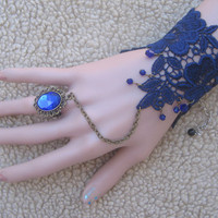 Gothic palace retro Rococo lace Queen bracelet wristband with blue crystal ring