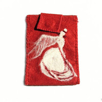 Felt iPhone sleeve, gadget case, smart phone pouch with flamenco dancer, needle felted, red