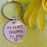 Love Keychain -- Engagement -- Boyfriend/ Girlfriend -- Hand Stamped Keychain-- Just Because