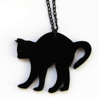 Black plexiglass cat necklace - black necklace - halloween necklace