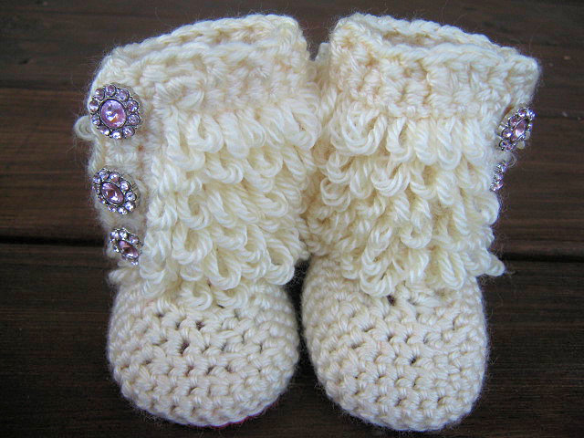 Crochet Baby Booties Furry Ugg Insp.. on from hippiechick My