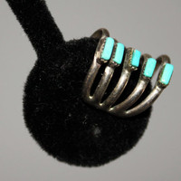 1970s Southwestern Sterling Silver and Turquoise Ear Cuff