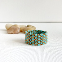 Turquoise peyote ring textured custom band ring. office fashion trends. nautical, tbteam