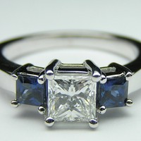 Engagement Ring - Three Stone Princess Diamond Engagement Ring with Blue Sapphire side stones 0.39 tcw. - ES442BSPR
