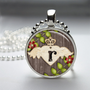 Photo Art Glass Bezel Pendant Winged Heart Initial Necklace