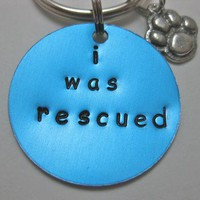 i was rescued turquoise colored pet tag set hand stamped