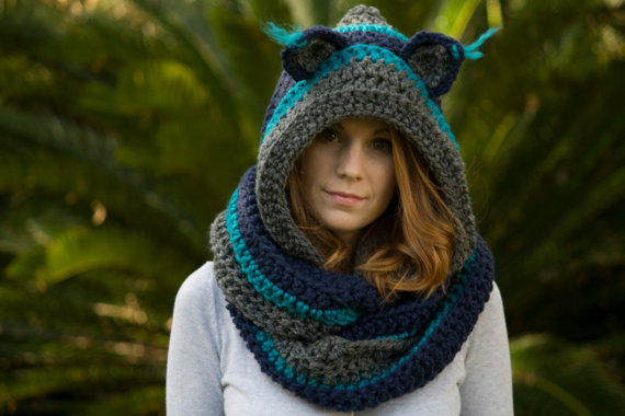 Crochet Pattern Hooded Scarf With Ears : Gallery For > Crochet Hooded Scarf With Ears