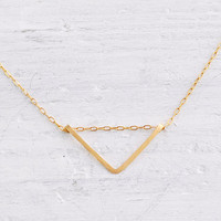 Gold fill chevron - small gold v necklace - minimalist modern jewelry