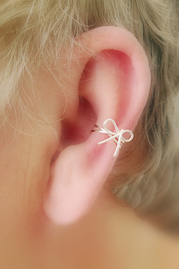 new dainty bow ear cuff cartilage cuff from