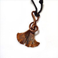 Ginkgo Leaf Pendant, Ginkgo Necklace, Copper, TAGT