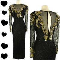 Dress Vintage 80s Black Metallic SEQUIN Beads SILK Party Prom Dress L Sheer GLAM Long