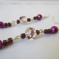 Purple Dangle Earrings, Glass Cube Earrings
