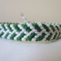 Chevron Staggered Friendship Bracelet, Anklet in Green and White