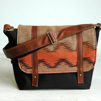 Pendleton Wool- Chinle pattern Wool & Canvas Messenger with Brown Leather