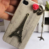 Personalized Eiffel Tower,bird,Iphone Case iPhone 4 Case, iphone 4 cover, New Hard Fitted Case For iphone 4 &amp; iphone 4S, Apple iPhone 4 Case