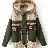 Pretty Snowflakes Hooded Coat Green$75.00