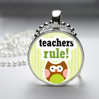Photo Art Glass Bezel Pendant Teacher Necklace