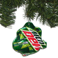 Recycled Mountain Dew Soda Can Christmas Ornament Santa Claus Ornament