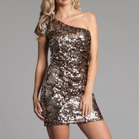 Bronze One Shoulder Sequin Dresses