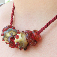 Burgundy Lampwork Necklace Holiday Celebration Jewelry for Her November Trends