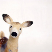 Hanna  - White Tailed Female Deer, Art Puppet Marionette Stuffed Animal Felted Toy. beige neutral cream brown.  MADE TO ORDER