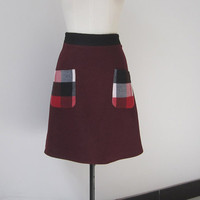 wine wool a line skirt with applique plaid pocket (358)