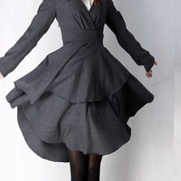 Grey plain elegant woolen Knee-Length Dresses