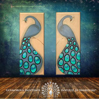 "FASCINATION diptych peacock painting Swarovski crystals & glitter peacock wall art 40""x32"" mint blue original abstract painting Lydia Gee"
