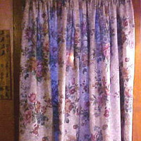 Vintage Window Curtains 4 Full Panels Florals Custom Made Beautiful Colors & Fabric Excellent Condition Very Well Made High Quality