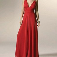 Hot Sale Elegant Burgundy Spaghetti Straps V Neck Evening Dresses - Basadress.com