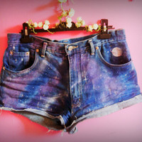 Cosmic Galaxy vintage denim shorts.