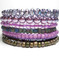Memory Wire Bracelet Lavender and Grey Stacked Beaded Wrap